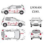 Set complet Adhesifs -URBAN GIRL- Rouge - Taille S - Car Deco - ADNAuto