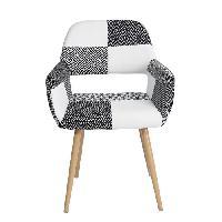 Siege - Assise CROMWELL Fauteuil en tissu noir et blanc - Style ethnique - L 56 x P 56 x H 78 cm