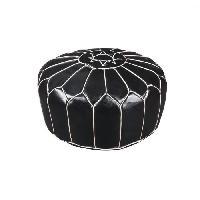 Siege - Assise FESA Pouf Marocain - Ø 50 x H 30 cm - Noir