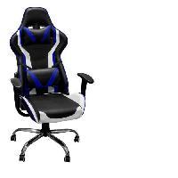Siege - Assise Fauteuil de bureau gaming - Simili Bleu et noir + 2 coussins - L 60 x P 69 x H 125 cm - KAPI