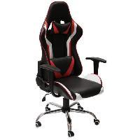 Siege - Assise Fauteuil de bureau gaming - Simili Rouge et noir + 2 coussins - L 60 x P 69 x H 125 cm - KAPI
