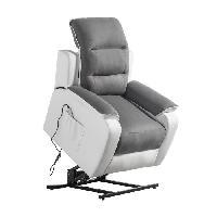 Siege - Assise Fauteuil de relaxation CALM - Simili blanc et tissu gris - Massant chauffant - Moteur electrique et lift releveur
