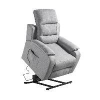 Siege - Assise Fauteuil de relaxation CALM - Simili blanc et tissu gris - Moteur electrique et lift releveur