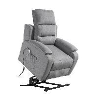 Siege - Assise Fauteuil de relaxation CALM - Tissu gris chine - Massant chauffant - Moteur electrique et lift releveur