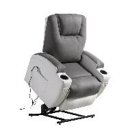Siege - Assise Fauteuil de relaxation CINEA - Simili blanc et tissu gris - Massant chauffant - Moteur electrique et lift releveur