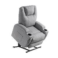 Siege - Assise Fauteuil de relaxation CINEA - Tissu gris chine - Massant chauffant - Moteur electrique et lift releveur