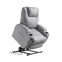 Siege - Assise Fauteuil de relaxation CINEA - Tissu gris chine - Moteur electrique et lift releveur