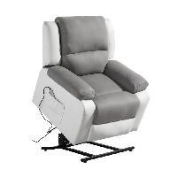 Siege - Assise Fauteuil de relaxation RELAX - Simili blanc et tissu gris - Massant chauffant - Moteur electrique et lift releveur