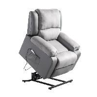 Siege - Assise Fauteuil de relaxation RELAX - Simili gris et tissu gris - Massant chauffant - Moteur electrique et lift releveur