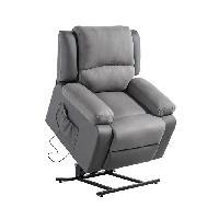 Siege - Assise Fauteuil de relaxation RELAX - Simili gris et tissu gris - Moteur electrique et lift releveur