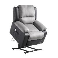 Siege - Assise Fauteuil de relaxation RELAX - Simili noir et tissu gris - Massant chauffant - Moteur electrique et lift releveur