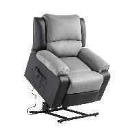Siege - Assise Fauteuil de relaxation RELAX - Simili noir et tissu gris - Moteur electrique et lift releveur