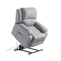 Siege - Assise Fauteuil de relaxation RELAX - Tissu gris chine - Moteur electrique et lift releveur