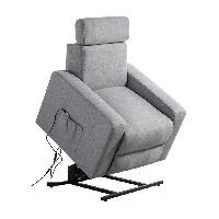 Siege - Assise Fauteuil de relaxation TILIO - Tissu gris chine - Massant chauffant - Moteur electrique et lift releveur