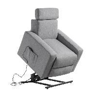 Siege - Assise Fauteuil de relaxation TILIO - Tissu gris chine - Moteur electrique et lift releveur
