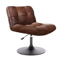 Siege - Assise Fauteuil pivotant tissu marron- Style industriel - L 89 x P 39 x H 66 cm
