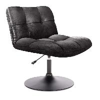 Siege - Assise Fauteuil pivotant tissu noir - Style industriel - L 89 x P 39 x H 66 cm