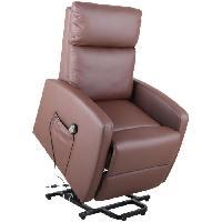 Siege - Assise Fauteuil releveur de relaxation electrique - Tissu PVC brun choco - L70 x H83-102 x P81-161 cm - Chocolat
