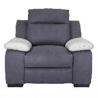 Siege - Assise JACOB Fauteuil de relaxation - Tissu gris et accoudoirs cuir blanc - Contemporain - L 114 x P 101 cm