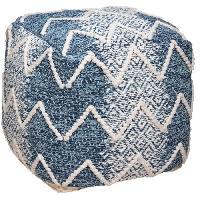 Siege - Assise Pouf en coton - L. 45 x l. 45 x H. 45 cm - Bleu. blanc. terre