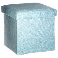 Siege - Assise Pouf pliable Tomaz carré - Bleu - L 38 x P 38 x H 38 cm