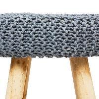 Siege - Assise Tabouret Suzette en bois. coton et polyéthylene - L. 32 x l. 32 x H. 43 cm - Gris foncé