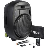 Sono - Dj IBIZA PORT15VHF-MKII - Systeme enceinte de sonorisation portable autonome 15?/38CM AVEC USB. Bluetooth et 2 micros VHF