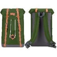 Sport De Montagne ABBEY Sac a dos scolaire - Fermeture aimantee - Cuir PU look vintage - 100 Polyester 300x300D - Vert