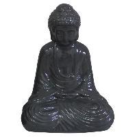 Statue - Statuette HOMEA Bouddha en céramique 17x13xH25 cm gris - Generique