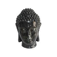 Statue - Statuette HOMEA Tete de bouddha déco en magnésie 32x31.5xH42.5 cm noir - Generique