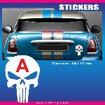 Sticker jeune conducteur TETE DE MORT PUNISHER - Run-R Stickers