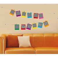 Stickers - Lettres Adhesives PLAGE Sticker déco ARDOISE - Polaroids multicolores 1 Planche 46x100 cm