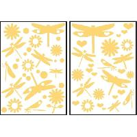Stickers - Lettres Adhesives Stickers adhesif mural Taille S - Libellules jaunes 2 planches 29.7 x 21 cm. divers motifs