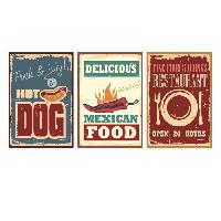 Stickers - Lettres Adhesives Stickers adhesif mural Vintage Street Food Signs - Multicolore - 84x40cm