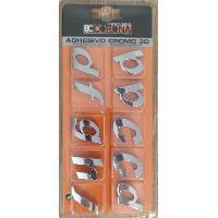 Stickers 3D 10 Lettres Chromees 3D Adhesives -KLMNP- N3 - BC Corona - ADNAuto