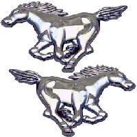 Stickers 3D Adhesif 2 chevaux Mustang - 10.5x7.5cm - ADNAuto