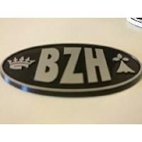 Stickers 3D Adhesif Sticker - Embleme BZH 3D - 4.5x7.4cm - Argent sur fond noir - Breizh