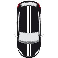 Stickers Grands Formats Set 2 Adhesifs -RACING BANDE GT- Blanc - PROMO ADN - Car Deco