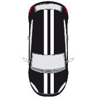 Stickers Grands Formats Set 2 Adhesifs -RACING DOUBLE BANDE- Blanc - Car Deco - ADNAuto