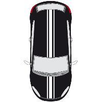 Stickers Grands Formats Set 2 Adhesifs -RACING TRIPLE BANDE- Blanc - PROMO ADN - Car Deco Generique