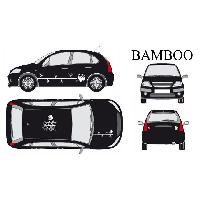 Stickers Grands Formats Set complet Adhesifs -BAMBOO- Blanc - Taille M - PROMO ADN - Car Deco