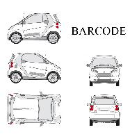 Stickers Grands Formats Set complet Adhesifs -BARCODE- Argent - Taille M - PROMO ADN - Car Deco