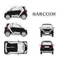 Stickers Grands Formats Set complet Adhesifs -BARCODE- Blanc - Taille M - PROMO ADN - Car Deco