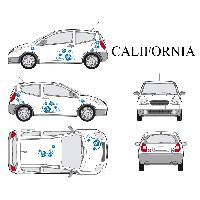Stickers Grands Formats Set complet Adhesifs -CALIFORNIA- Bleu - Taille S - Car Deco - ADNAuto