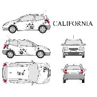 Stickers Grands Formats Set complet Adhesifs -CALIFORNIA- Noir - Taille S - Car Deco