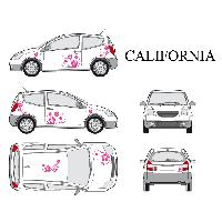 Stickers Grands Formats Set complet Adhesifs -CALIFORNIA- Rose - Taille S - Car Deco - ADNAuto