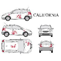 Stickers Grands Formats Set complet Adhesifs -CALIFORNIA- Rouge - Taille S - Car Deco - ADNAuto