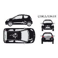 Stickers Grands Formats Set complet Adhesifs -CORAZONES- Blanc - Taille M - Car Deco