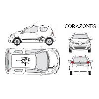 Stickers Grands Formats Set complet Adhesifs -CORAZONES- Noir - Taille M - Car Deco