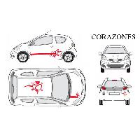 Stickers Grands Formats Set complet Adhesifs -CORAZONES- Rouge - Taille M - Car Deco Generique
